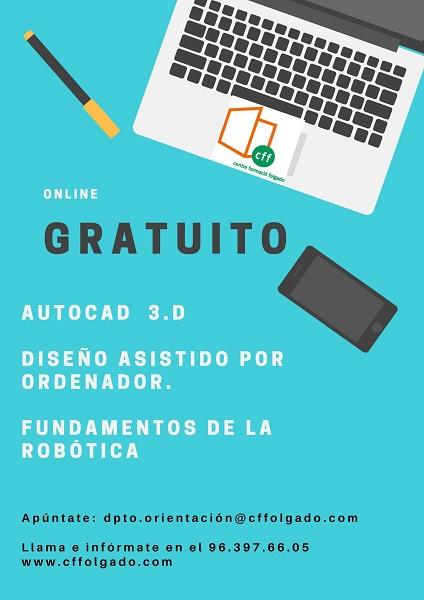 cartel curso autocad_diseño asistido por ordenador_fundamentos de la robótica_ web y face